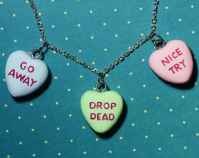 Gothic Lolita  Anti Valentine - Creepy Candy Heart Necklace  - Triple Heart Combo