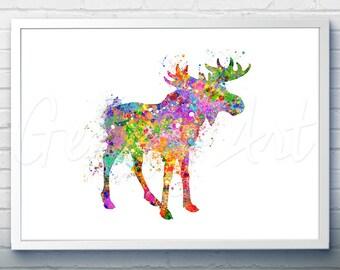Moose Watercolor Art Print  - Watercolor Painting - Home Decor - Animal Watercolor Art Painting - Moose Poster - House Warming Gift [2]