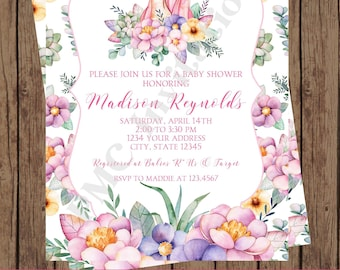 Custom Printed Watercolor Unicorn Floral Baby Shower Invitations - 1.00 each with envelope