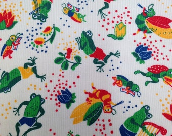 Corduroy Vintage Bug and Frog Printed Cotton  - 3/4 Yards - Kids Corduroy Fabric / Cotton Fabric / Printed Corduroy / Bug Print / Frog Print