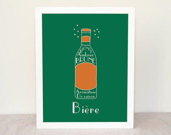 Custom French Beer bière 8x10 giclee art print Home Decor Choose your colors French Alcohol Beverages Drinks Typographic print Green