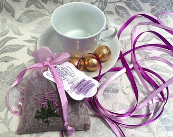Lavender Sachet Favors w Custom Tags | Bridal Shower Sachets | Baby Shower Thank You Gift | French Lavender | Mason Jar Tag Personalized 24