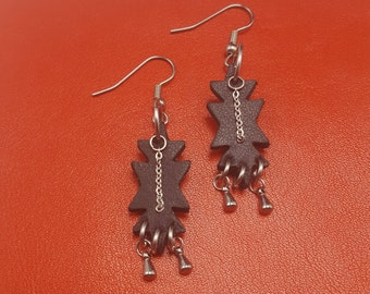 Leather Geometric Earrings with stainless steel accents