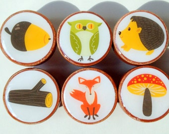 Forest Friends Wooden  Knobs, Fox Knobs, Wooden Knobs, Wood Knobs- 1 1/4 Inches - Set of 6