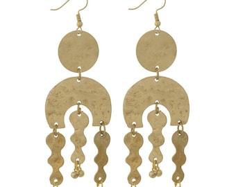 "Brass Metal Linked Tribal Chic Statement Earrings 3.5"" Long"
