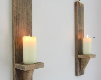 Pair rustic recycled pallet wood wall sconce LED candle holders