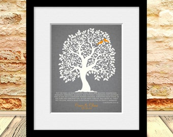 Wedding Gift Print, Wedding Love Bird Tree, Bible Verse Wedding Tree, Colossians 3:12-14, Personalized Wedding Gift, Customized Wall Art