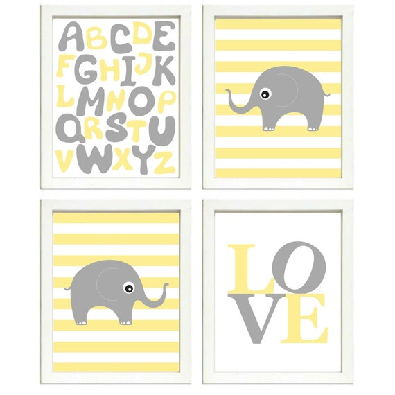 INSTANT DOWNLOAD Yellow Grey Elephant Nursery Art Printable