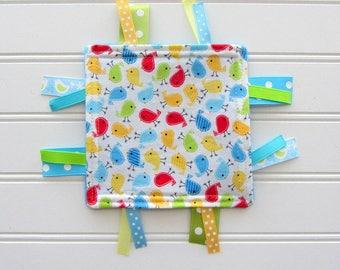 Birds Baby Girl Crinkle Toy, Girl Sensory Ribbon Tag Toy, Ribbon Taggie Toy, Babies First Toy, Baby Sound Toy, Safe Baby Toy