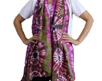 Chic Colorful Tie Dye Cotton Scarf  Handmade Wrap Shawl Beach Accessory   (10)