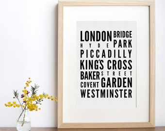 London Subway Sign Print, London Subway Art Print, Typography Print, Modern Home Decor, Subway Poster, Black and White Home Decor
