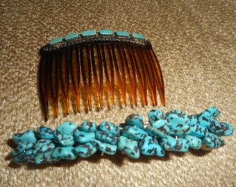 Pair of Turquoise Barrette and Comb