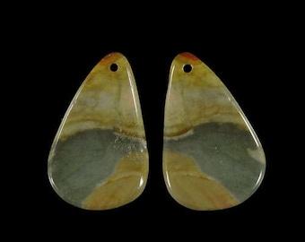 Natural Jasper Earring Beads Pairs genuine Gemstone Succor Creek Jasper Pendant earrings Bead 1 Pair  DA02713#