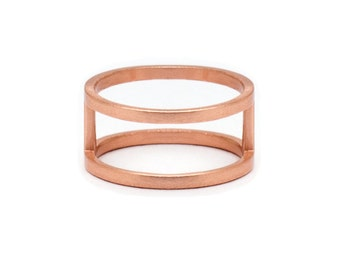 Rose Gold Double Band Ring - Rose Gold Ring - Rose Gold Band Ring - Stacked Gold Ring - Stacked Ring - Double Ring Band