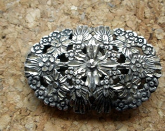 Carved Repose Flower/Floral Brooch Pin - Sterling Silver