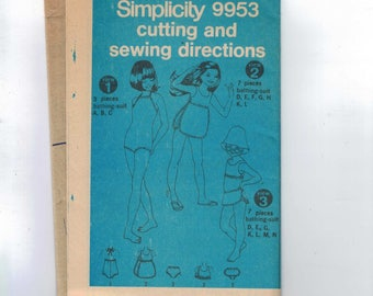 1970s Vintage Sewing Pattern Simplicity 9953 Girls One Two Piece Swimsuit Bathing Suit Size 4 Breast 22 1970s UNCUT NO ENVELOPE