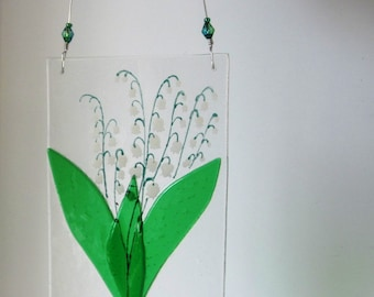 Lily of the valley fused glass suncatcher with beads on wire hanger