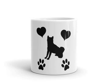 Shiba Inu Mug - Puppy Dog Love Hearts Paw Prints Pets Coffee Tea Mug