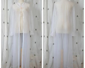 Vintage White Sexy Negligee, Pink and Green Flower Embroidery, Mid Century, Robe, Lingerie, Pajamas, Vanity Fair, Long, Size 30, Medium