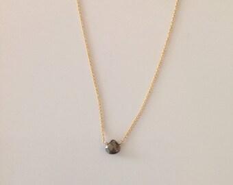 Minimalist Faceted Pyrite Briolette Necklace