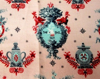 Vintage Cotton Fabric Novelty Print Mid Century Pink Aqua Red 1950's Colonial Americana Upholstery Fabric Remnant Vintage Linens