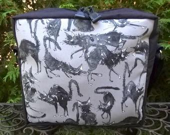 Black Cat shoulder bag, zippered cross body bag, cross body bag with pockets, Sebastian Ghastlie, The Super Raccoon