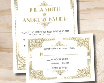 ART DECO GATSBY 1920's Wedding Invitation and Response Card Invitation Suite