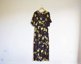 vintage 1990s black and yellow floral summer maxi dress