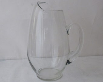 Vintage Clear  Glass Water Pitcher  With Applied Handle & Ice Lip 2 Quart.