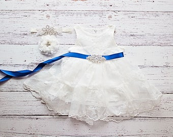 Flower Girl Dress, Royal Blue Sash White Lace Dress- Rustic Lace Flower Girl Dress, Lace Rustic Dress, White Baptism Dress, Birthday Dress