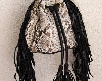 Snake Fringe Leather Bag Purse Python Black white Leather Fringe Bag Snake skin Purse Leather Fringe Purse Leather Bag Snake Skin Bag Vedora