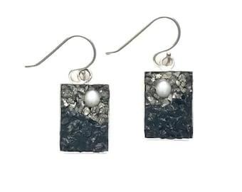 Micro Mosaic Jewelry - Pearl, Pyrite and Tourmaline Earrings