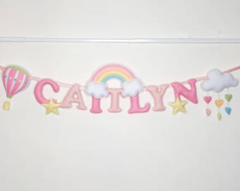 Name Banner, Rainbow/Cloud/Hot Air Balloon,Name Garland,Nursery Decor,Wall Decor,Felt Padded Letters,Wall Hanging