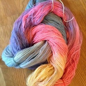 Mountain Colors Winter Lace, hand-dyed yarn, custom color way, Pale Sunrise,  silk, wool, natural fibers, lace weight