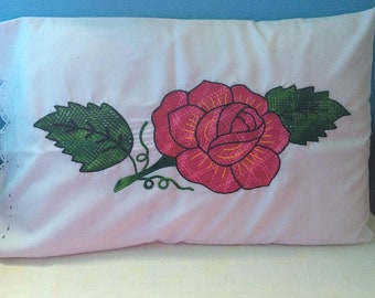 Beautiful white pillowcase with embroidery