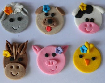 12 edible FARM ANIMALS faces CUPCAKE sheep cow pig horse dog icing toppers cookie cake topper cupcake decoration wedding engagement birthday