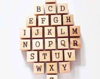 Wood Alphabet Blocks / Wood Baby Blocks / Wood Blocks / Baby Blocks / Alphabet Blocks / Natural Wood Blocks / Baby Shower Gift