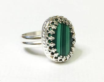 Sterling Silver Malachite Ring, US Size 5, Malachite Statement Ring, Ready to Ship, One of a Kind, Malachite Cocktail Ring, Handmade Ring