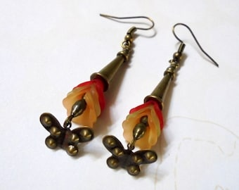 Red, Orange, Yellow and Brass Flower and Butterfly Earrings (2874)