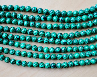 6mm Malachite beads, full strand, natural stone beads, round, 60053