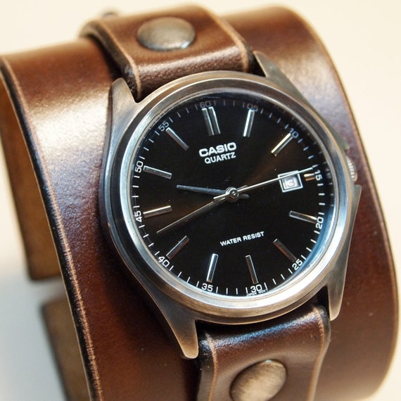 Leather cuff watch Brown Nathan Drake style Uncharted 2 Unisex vintage watch Handmade for YOU in USA by Freddie Matara!
