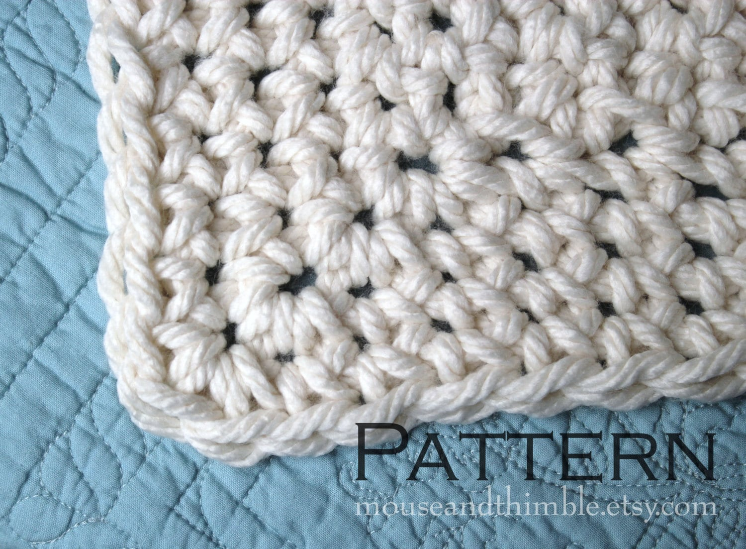 Crochet PATTERN / Easy / Queen Size Chunky Afghan Blanket /