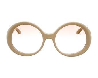VALENTINO Vintage Oversized Round Cream White Pool Party Glam / Luxe Designer Sunglasses - SO Rare!