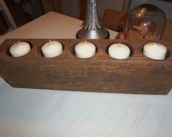 Solid Wood 5 Hole Sugar Mold, Mexico, Rustic, Centerpiece, Candles, Weddings, Organization