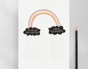 Be a Rainbow Amongst the Clouds, Modern Nursery Kids Wall Art Print