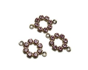 3 flower shape Swarovski Crystal connectors, pink color