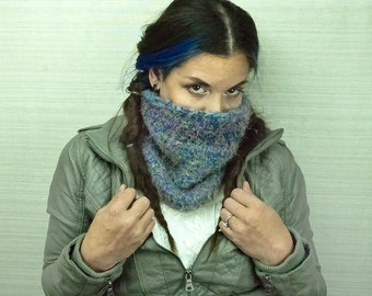 Fuzzy Tube Scarf Blue and Rainbow Circle Cowl Scarf Christmas Gift Ready to ship Handmade