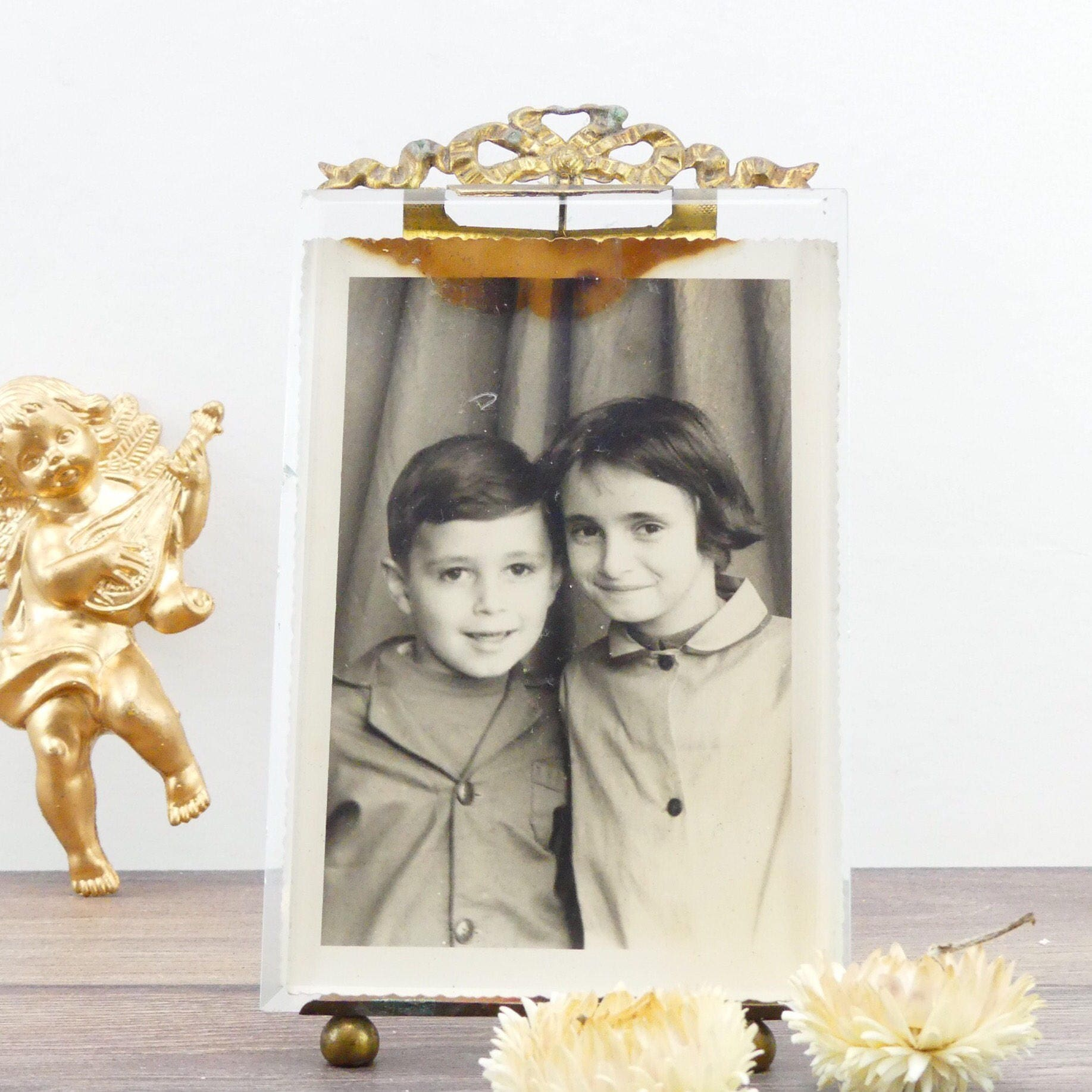 Picture frame - Small antique frame - Golden frame - Baby photo ...