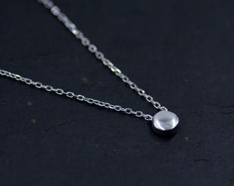 Sterling Silver Minimalist Tiny Little Dot Circle Pendant Necklace  - 16'' - 18''  Y50