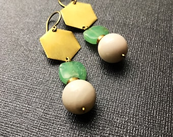 Chrysoprase White Agate And Brass Earrings